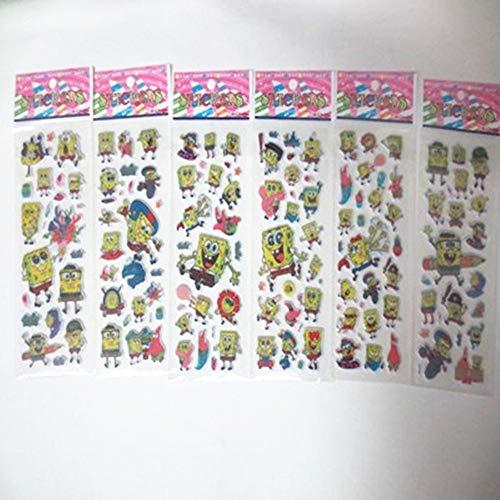 HXLF Mode-Aufkleber Aufkleber 60 Blatt Kinder Cartoon Pflanzen Zombies Spongebob Octonauts Trolle Toy Story Bubble Aufkleber Spielzeug Cute Baby 3D Aufkleber (Color : Spongebob)