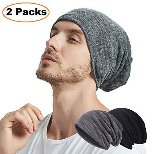 EINSKEY Beanie Herren Damen Baumwolle Slouch Jersey Mütze Kopfbedeckung Set Schwarz...