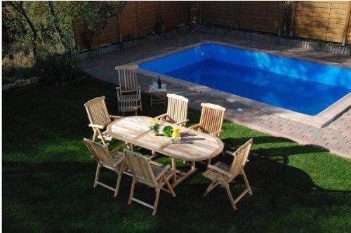XXS® Möbel Gartenmöbel Set Aruba XL 9tlg Teak Holz pflegeleicht Holz Tisch ausziehbar mit Schirmloch sechs Klappstühle Aruba und Deckchair Puccon praktischer Klapptisch pflegeleicht