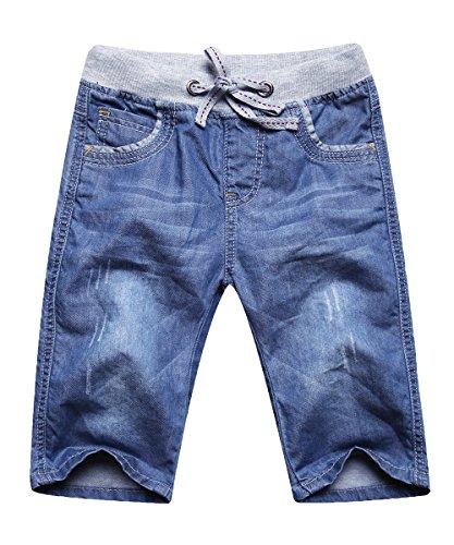 Echinodon Jungen Jeans Shorts 1/2 Kurze Hose Kinder Sommer Jeanshose Weich/Dünn/Atmungsaktiv 140