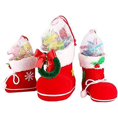 Natale zucchero, Borsa, Megadream® 3pcs ricamo rosso Candy Bag, decorazioni natale Decor bambini regali Calze Snack penna contenitore pacchetto sacchetti, Set per albero di Natale o stanza dei bambini ¨ C, confezione da 3, con grande Medie e piccole dimensioni