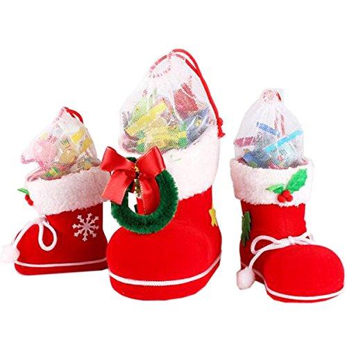 Megadream® - Set di decorazioni per la casa e il bagno adatte per le feste natalizie, con coprisedile per WC, coprirotolo per carta igienica con rivestimento per cassetta del WC e tappetino da bagno, motivo: Babbo Natale, confezione da 3 pezzi, Christmas Candy Boots, Pack of 3(S+M+L)