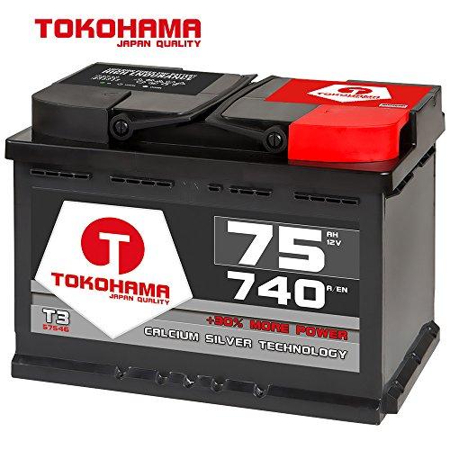 Preisvergleich Produktbild Tokohama Autobatterie 12V 75AH 740A / EN ersetzt 70Ah 71Ah 72Ah 74Ah