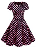 Dresstells Damen Vintage 50er Rockabilly Kurzarm Swing Kleider Partykleid Black Big Pink Dot 2XL