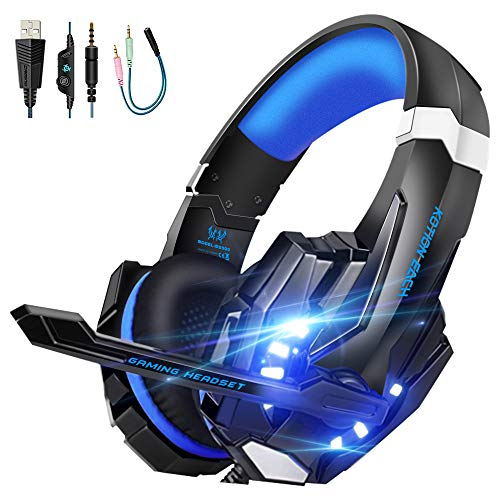 VTAKOL V9 Gaming Headset für PS4, 3.5mm Surround Sound Kabelgebundenes Gaming Kopfhörer mit Mikrofon, LED-Licht, Kopfhörer für Laptop, Xbox one, PC, Smartphone thumbnail