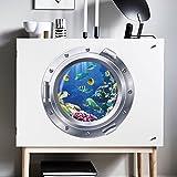 WandSticker4U- Wandtattoo in 3D Optik:Unterwasserwelt   Wandbild: 43x43cm   Wandsticker Bullauge Poster Fenster Schiff Aquarium Fische See Ozean   Deko für Badezimmer Wohn-und Schlafzimmer Küche