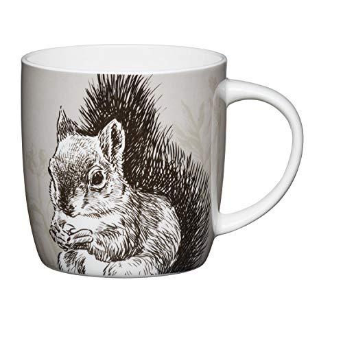 Becher, Tasse Cottage Eichhörnchen für 425ml weiß bunt Porzellan KitchenCraft -