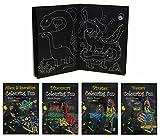 4x Malbuch mit schwarzen Seiten Din A 4 mit Piraten, Dinosaurier, Popstars und Aliens & Raumschiffe