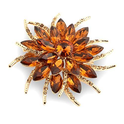 Ogquaton Premium Qualität Legierung Strass Blume Form Brosche für Frau Mädchen Golden