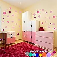 Wandschnörkel ® 75 Punkte Konfetti Punkte Kreise Polka Dots Wandtattoo Möbel Spiegel Fenster Türen Fliesen Aufkleber selbstklebend Kinderzimmer Wohnzimmer Bad.