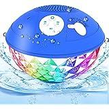 Altoparlante Bluetooth Doccia, Altoparlante Piscina con Luci LED, Suono Stereo Chiaro, Microfono Integrato, Chiamata Vivavoce
