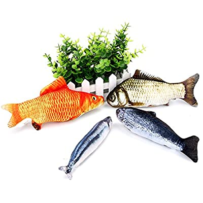 4 Pieces Catnip Fish Plush Fish Simulated Fish Cat Toys for Cats and Dogs, 4 Types
