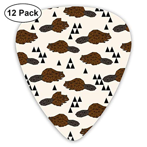 Geo Beaver - Brown By Andrea Lauren_163 Classic Celluloid Picks, 12-Pack, For Electric Guitar, Acoustic Guitar, Mandolin, And Bass -