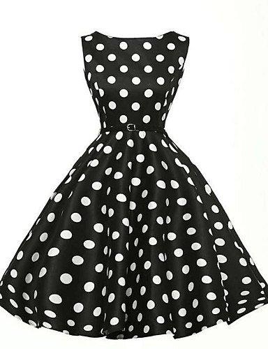 PU&PU Robe Aux femmes Gaine / Patineuse Vintage / Street Chic,Points Polka Col Arrondi Mi-long Coton / Polyester BLACK-S