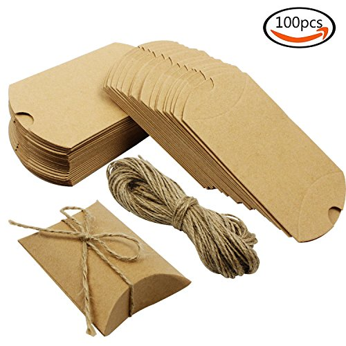 Whonline 100pcs cajas de dulce de kraft almohada + 100 cuerdas de yute