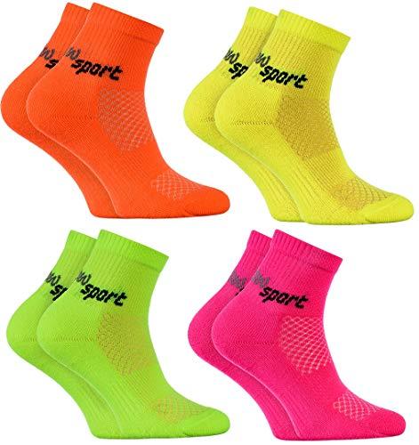 Rainbow Socks - Jungen und Mädchen Neon Sneaker Sportsocken - 4 Paar - Orange Rosa Gelb Grün - Größen: EU 30-35