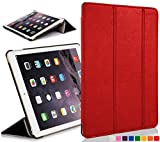 Forefront Cases® Apple iPad Air (1st Generation 2013) Hülle Schutzhülle Tasche Bumper Folio Smart Case Cover Stand - Ultra Dünn Leicht mit Rundum-Geräteschutz und intelligente Auto Schlaf / Wach Funktion (ROT)