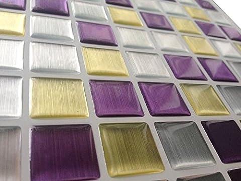 Tile & Sticker 3D Gel Mosaic Effect High Quality imitate Metal Silver & Stone Brick Shape Walls Borders Mosaic Tiles 10 Sheet