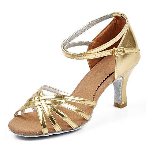 LSERVER-Donna Scarpe da Ballo Latino con Tacco 5CM Fibbia per cinturino alla  caviglia/