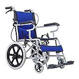XSSD001 Ältere Menschen Liefern Rollstuhl Faltbaren Leichtgewichtsrollstuhl, Aluminiumrollstuhl, Manueller Rollstuhl, Faltender Reisendollstuhl, Justierbares Pedal,Blau,A