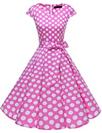 DRESSTELLS® 50s 60s Retro Dress Cap Sleeve Rockabilly Floral Polka Dots Vintage Cocktail Party Swing Dress