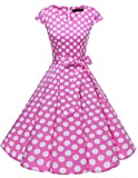 Dresstells Damen Vintage 50er Cap Sleeves Rockabilly Swing Kleider Retro Hepburn Stil Cocktailkleid Pink White Dot L