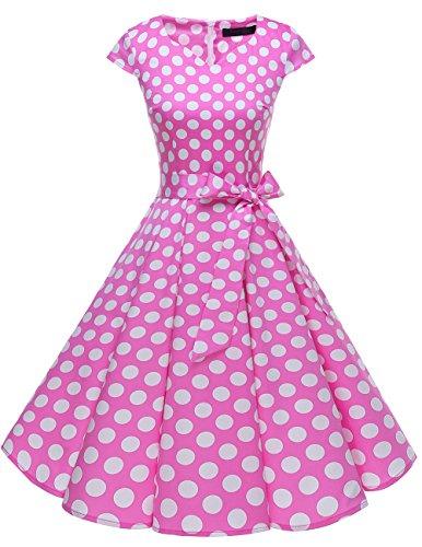 Dresstells Damen Vintage 50er Cap Sleeves Rockabilly Swing Kleider Retro Hepburn Stil Cocktailkleid Pink White Dot ()