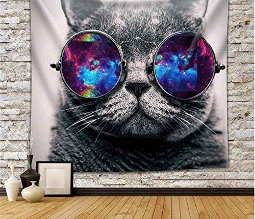 hjtktt Mehrfarbenwolf Der Tiertapisserie, Der Farbige Sonnenbrille Trägt Und Wandbehang-Wanddekorationskünstler Malt200*150Cm