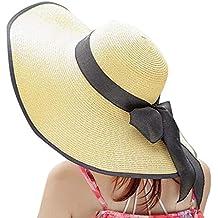 BIBOKAOKE Verano Beach Straw Cap Respirable y Ajustable,Visera de Sombrero de Paja para Mujer