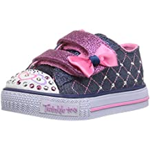 GIRLS SKECHERS TWINKLE TOES SHUFFLES GLITTER CRUSH DENIM/PINK LIGHT UP  SHOES -UK 11