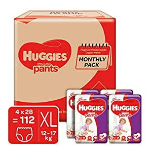 Huggies Wonder Pants Diapers Monthly Pack, Extra Large (112 Count)