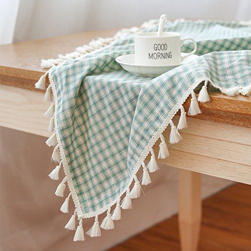 Tissu de table en treillis d'art pastoral Nappe en tissu coton lin rond Tissu rectangulaire de table carrée-E 90x90cm(35x35inch)