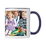 Tasse mit persönlichem Foto und Text zum selbst gestalten (Fototasse, hochwertiger Kaffeebecher, individueller Druck,farbiger Henkel und Trinkrand, mit personalisierbarem Foto, spülmaschinenfest) (Standard, dunkelblau)