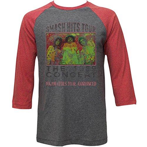 Jimi Hendrix - - Herren Alt Poster Raglan-T-Shirt Arctic Gray/Rusty Red