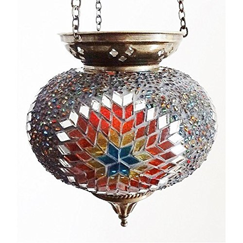 MOSAIC LAMP T LITE CANDLE HOLDER TEA LIGHT DECOR HANGING HANDMADE GLASS MOROCCAN (MIX COLOURS (LARGE))