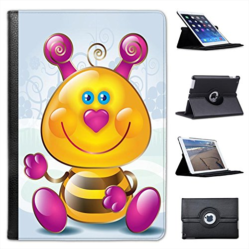 Cute Bombo con naso a cuore rosa Custodia a Libro in finta pelle con funzione di supporto per i modelli Apple iPad nero Cute Pink Heart Nose Bumble Bee iPad Mini / Retina