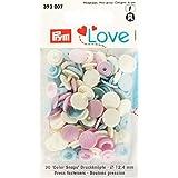 PRYM 393007 Color Snaps LOVE - Botones de presión (12,4 mm, 30 unidades), color rosa, azul claro y perla