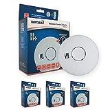 Nemaxx 3X HW-2 Funkrauchmelder - Hochwertiger Rauchmelder mit kombiniertem Rauch- und Thermosensor - Hitzemelder nach DIN EN 14604