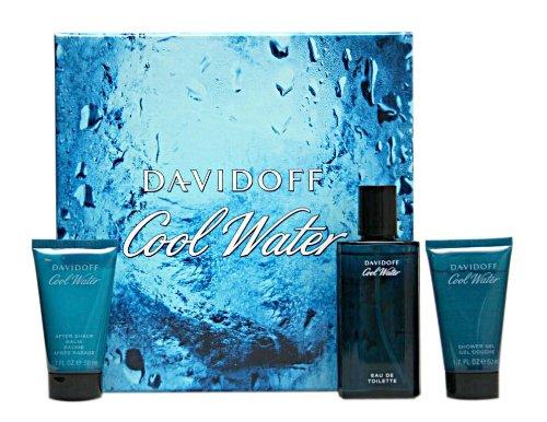 Davidoff Cool Water Geschenkset homme / man, Eau de Toilette Vaporisateur / Spray 75 ml , Duschgel 50 ml, Aftershave Balm 50 ml, 1er Pack (1 x 1 Set)