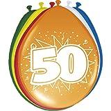 8 Luftballons Zahl 50 Geburtstag bunt