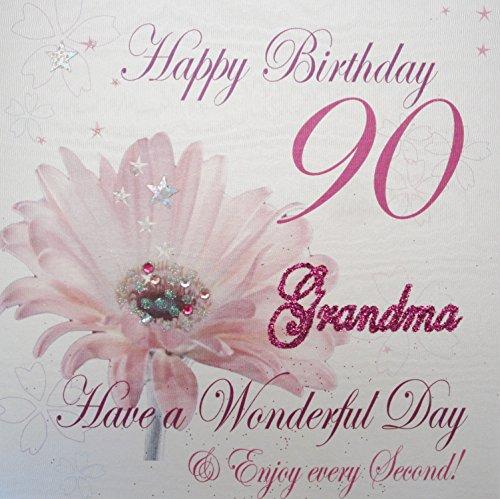 WHITE COTTON CARDS WBA90 GMA Pink Gerbra Happy Birthday 90 Grandma Have A Wonderful