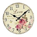 Sharplace Reloj de Pared de Madera Estilo Vintage Pastorale Patrón de Flore Rústico...