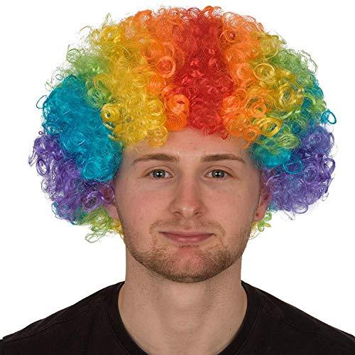 REDSTAR FANCY DRESS Erwachsene Lockig Afro Perücke Multifarben Party Clown Perücken Kostüm Zubehör - Regenbogenforelle, One Size