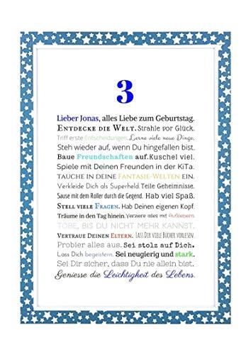 Geschenk Kindergeburtstag Junge: Personalisiertes Bild in DIN A4 zum 3, 4, 5. oder 6. Geburtstag - Geschenkidee für Kinder - Geburtstagsgeschenk oder Beigabe zum Geldgeschenk