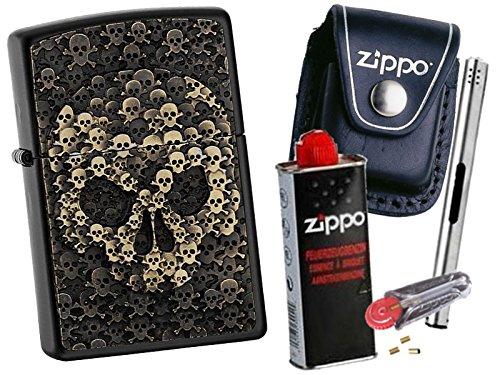 Zippo Skulls in Skull + Zippo POUCH mit Zippo Zubehör und L.B Chrome Stabfeuerzeug (mit CLIP Black Pouch) (Black Chrome Zippo)