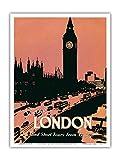 Pacifica Island Art Voir Londres - et de Courtes visites de Londres - Big Ben, Tour de l'horloge - Affiche de Voyage du Monde c.1932 - Master Art Print 23 x 31 cm...