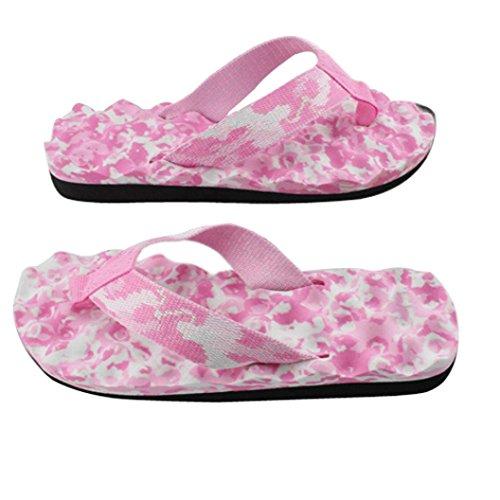 Rawdah Pantoufles de Camouflage Femme Flip Flops Été Tongs Chaussures Sandales Pantoufle Intérieure et Extérieure Tongs Summer Beach Chaussons Platform Pantoufles de Bain Rose