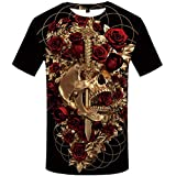 FLAMENCO_STORE 3D Tshirt Skull T Shirt Men Galaxy Anime Clothes Tshirt Printed Skeleton Shirt