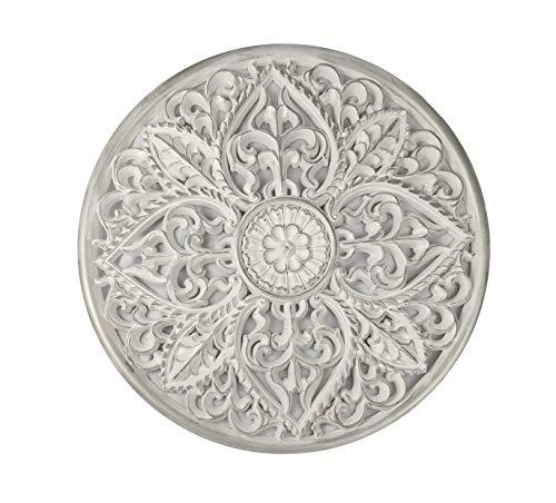 Mandala redondo madera tallado 65 cm Plateado blanco