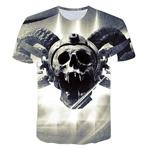 Herren Neuheit T-Shirt 2019 Sommer Casual Kurzarm 3D Digital Gedruckt T Shirt Tops Premium,3D Digitaldruck - 2 graue 4XL -